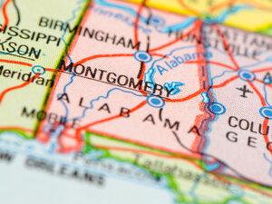 A map of Alabama.