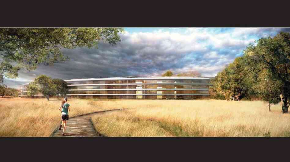 Apple's new circle-shaped headquarters will be about a third of a mile wide, with a mile of curved glass stretching around the middle.