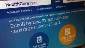 This image shows part of the HealthCare.gov website in Washington on Friday noting a Dec. 23 enrollment deadline for coverage starting Jan. 1.