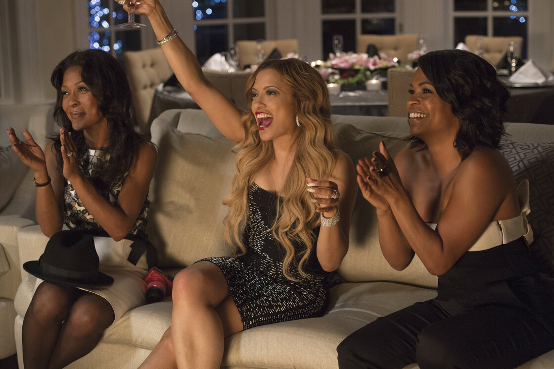 Monica Calhoun (left), Melissa De Sousa and Nia Long star in The Best Man Holiday