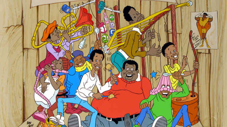 An original production cel from Fat Albert and the Cosby Kids. The show was among a burst of 1970s-era Saturday morning cartoons that featured positive African-American characters.