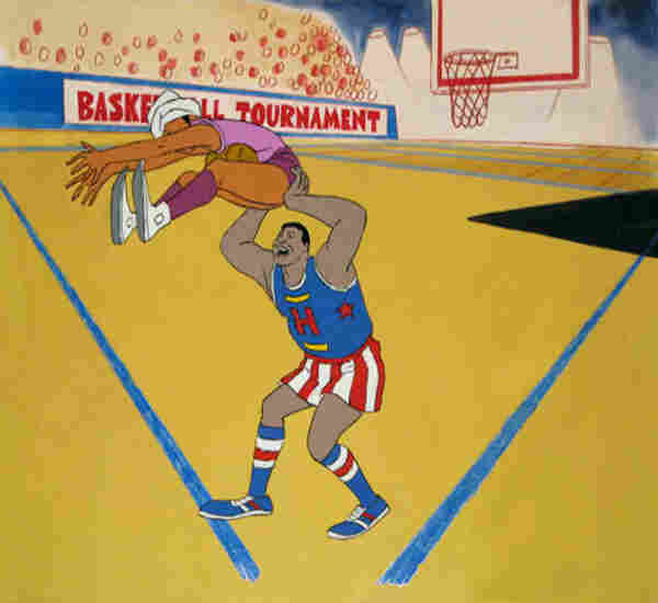 An original production cel for Harlem Globetrotters.