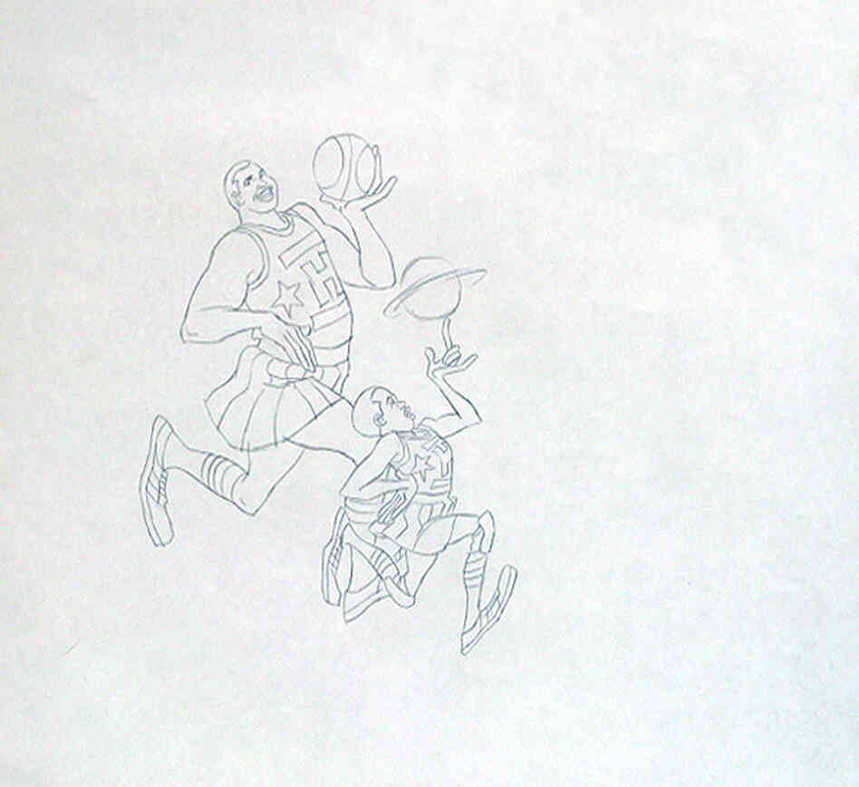 An original production drawing for The Harlem Globetrotters, which aired from 1970 to 1973.
