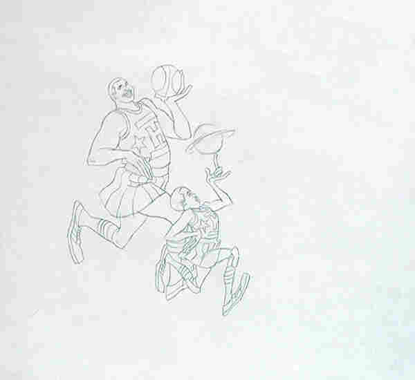 An original production drawing for Harlem Globetrotters, which aired from 1970 to 1973.