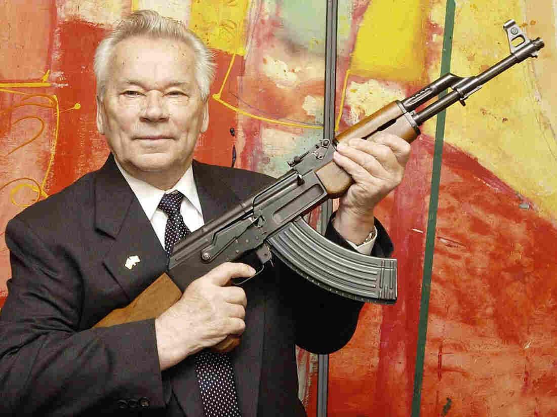 Mikhail Kalashnikov, with his AK-47, in 2002.