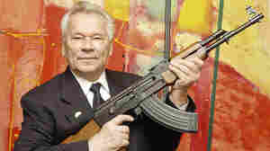 Mikhail Kalashnikov, with his AK-47, in 2002.