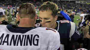 Denver Broncos quarterback Peyton Manning, left, and New England Patriots quarterback Tom Brady in 2012.