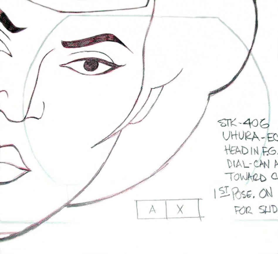 An original production drawing for Lt. Uhura of Star Trek, which aired from 1973 to 1975.