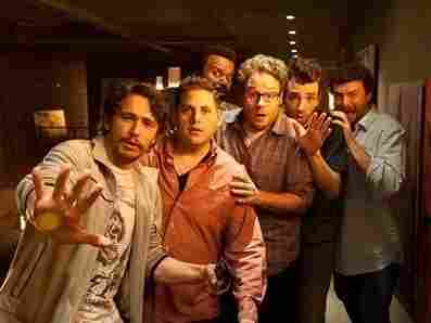 James Franco (from left), Jonah Hill, Craig Robinson, Seth Rogen, Jay Baruchel and Danny McBride all play versions of themselves in the post-apocalyptic comedy This Is the End, written by Rogen and his writing partner Evan Goldberg.