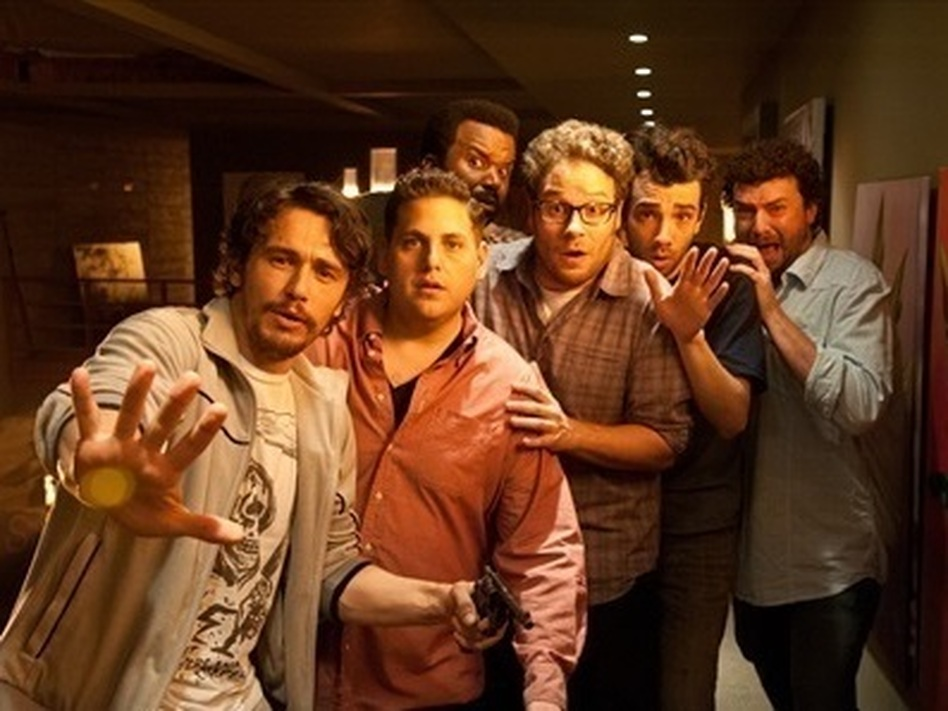 James Franco (from left), Jonah Hill, Craig Robinson, Seth Rogen, Jay Baruchel and Danny McBride all play versions of themselves in the post-apocalyptic comedy <em>This Is the End,</em> written by Rogen and his writing partner Evan Goldberg. (Suzanne Hanover/Columbia Pictures)