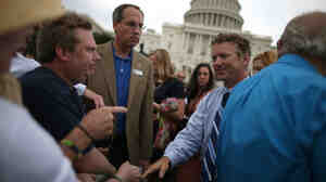 Sen. Rand Paul (R-Ky.) greets supporters during a tea party rally in front of the U.S. Capitol in June. Paul was a rising star in the tea party movement this year, filibustering a CIA nomination in March.