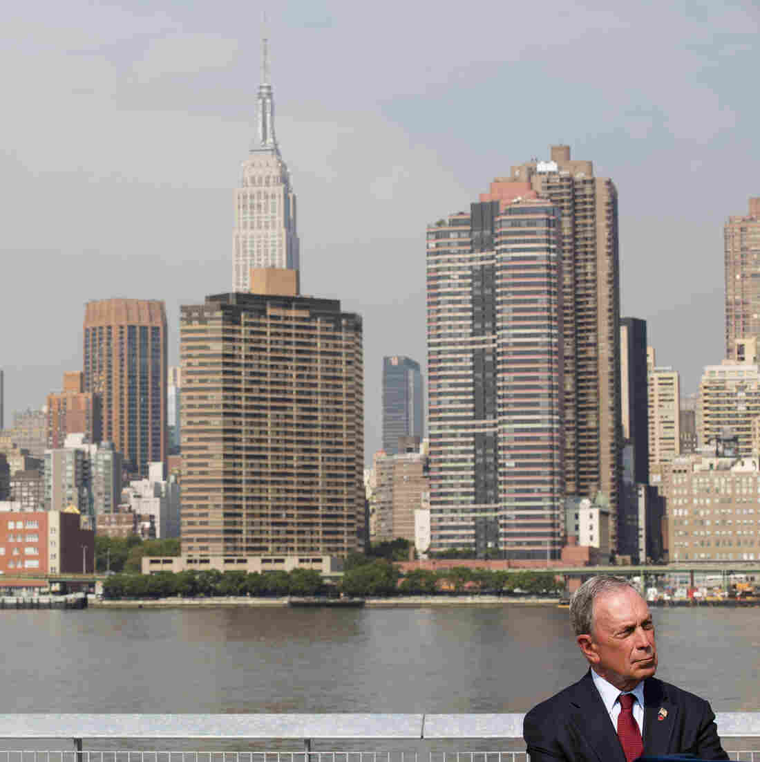 Outgoing New York City Mayor Michael Bloomberg speaks during an August news conference after officially opening the new Hunter's Point South Waterfront Park in Queens.