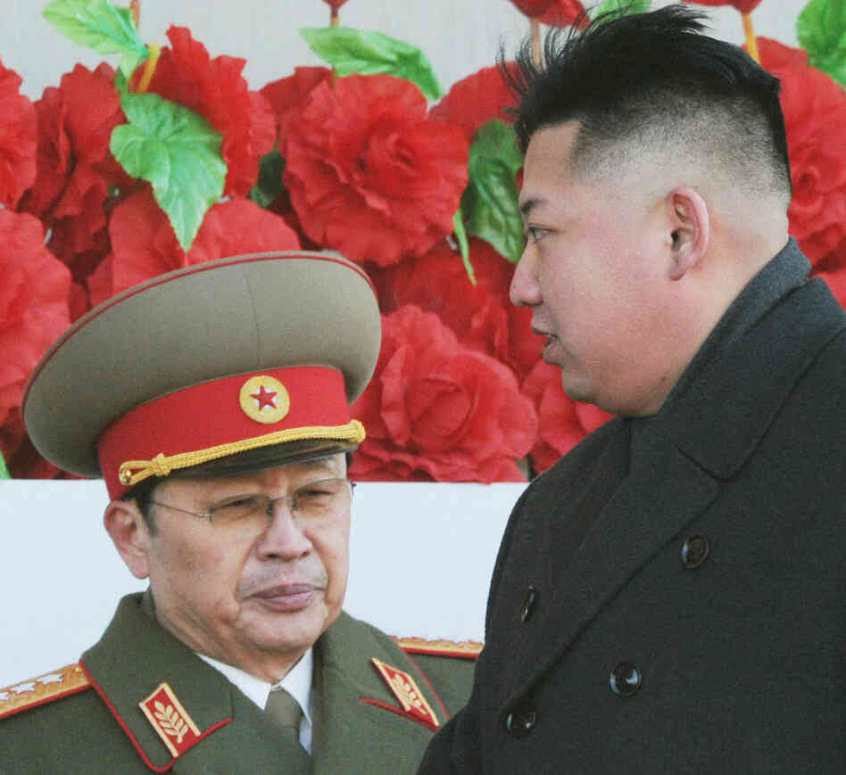 Before their split: North Korean leader Kim Jong Un, right, and his uncle, Jang Song Thaek, in February 20
