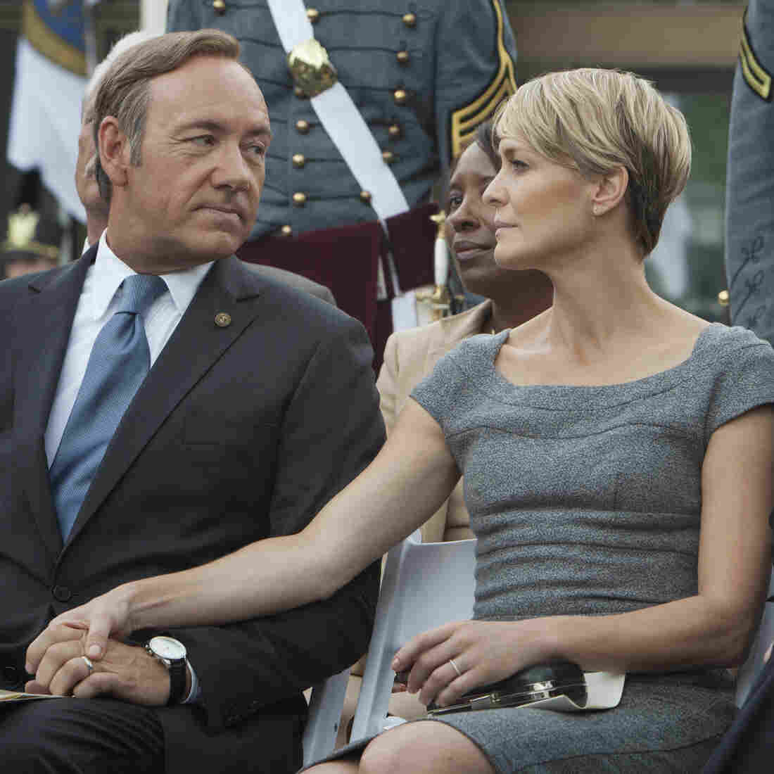 Kevin Spacey (left) and Robin Wright star in House of Cards, directed by David Fincher. The Netflix series, which follows a Machiavellian politician, is an adaptation of a BBC series of the same name. Hear an interview with Spacey and Fincher.