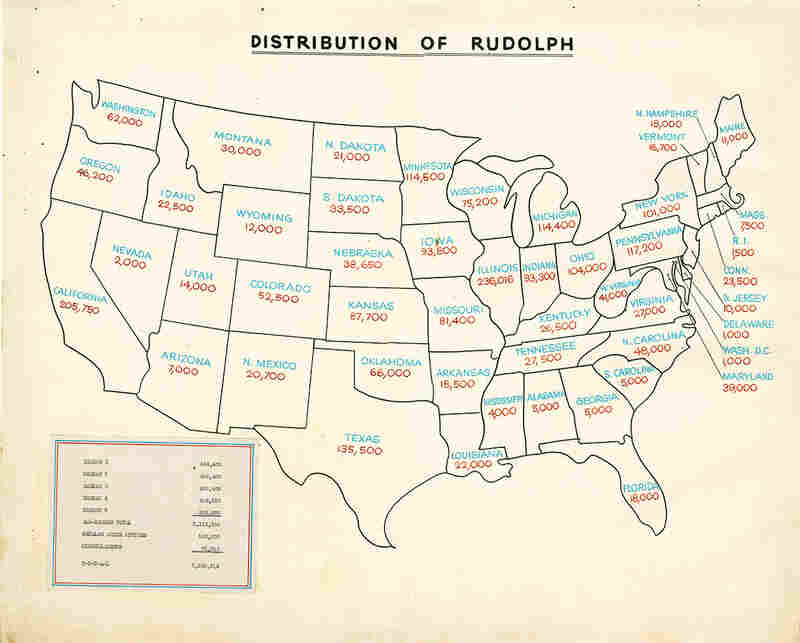 As shown in this map, copies of Rudolph the Red-Nosed Reindeer were shipped to Montgomery Ward stores across the country.