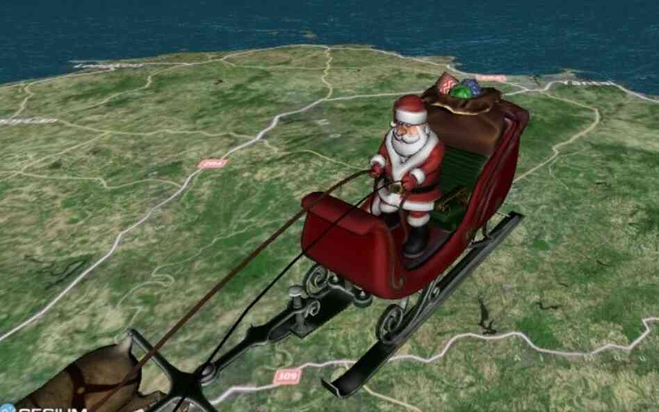 "The view Friday morning on NORAD's ""Santa Tracker."""