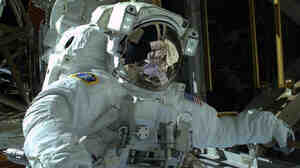 Astronaut Mike Hopkins during Saturday's spacewalk. He's going out again Tuesday.