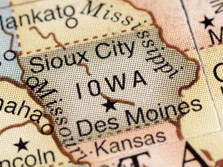Iowa on a desktop globe