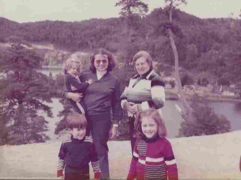 Carina Bien-Willner, in her mother's arms, with her grandmother and siblings in Argentina.