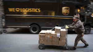 UPS delivery man Vinny Ambrosino was dressed for the holiday season on Tuesday as he delivered packages in New York City. Not all the things ordered for Christmas got to their destinations on time.