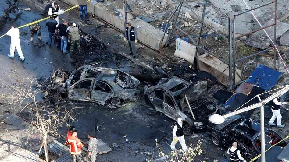 Some of the destruction at the scene of Friday's car bombing in Beirut.