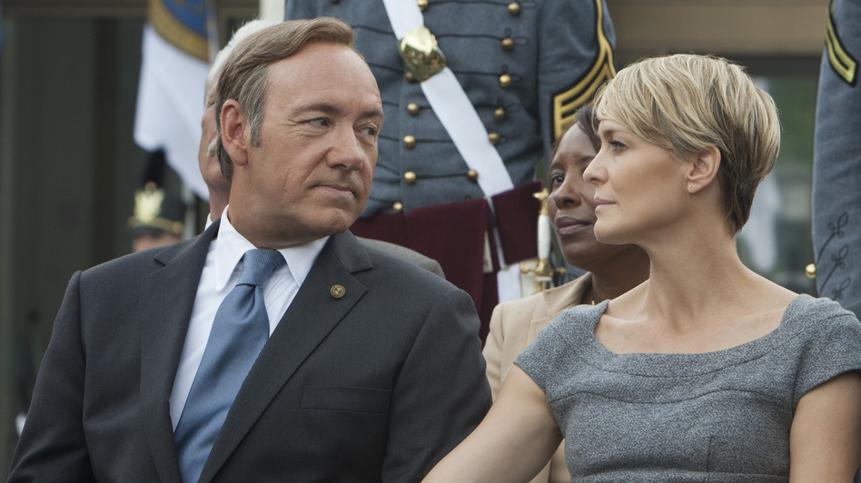 Kevin Spacey (left) and Robin Wright star in House of Cards, directed by David Fincher. The Netflix series, which follows a Machiavellian politician, is an adaptation of a BBC series of the same name. Hear an interview with Spacey and Fincher. (Netflix)