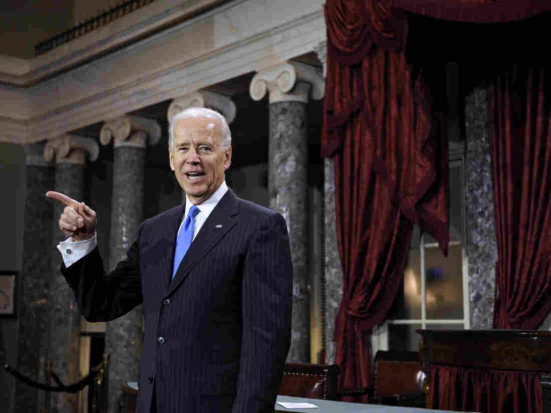 Joe Biden has a light-hearted moment in the Old Senate Chambers in January. The vice president has not ruled out running for president in 2016.