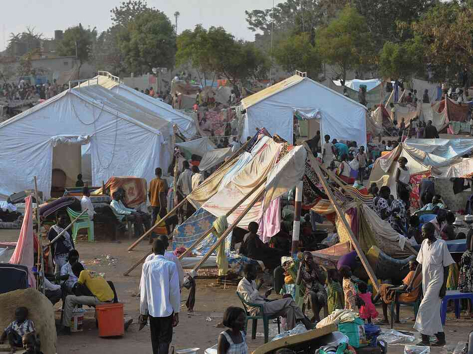 Tens of thousands of refugees are flocking to United Nations compounds like this one in Juba, while fears fester