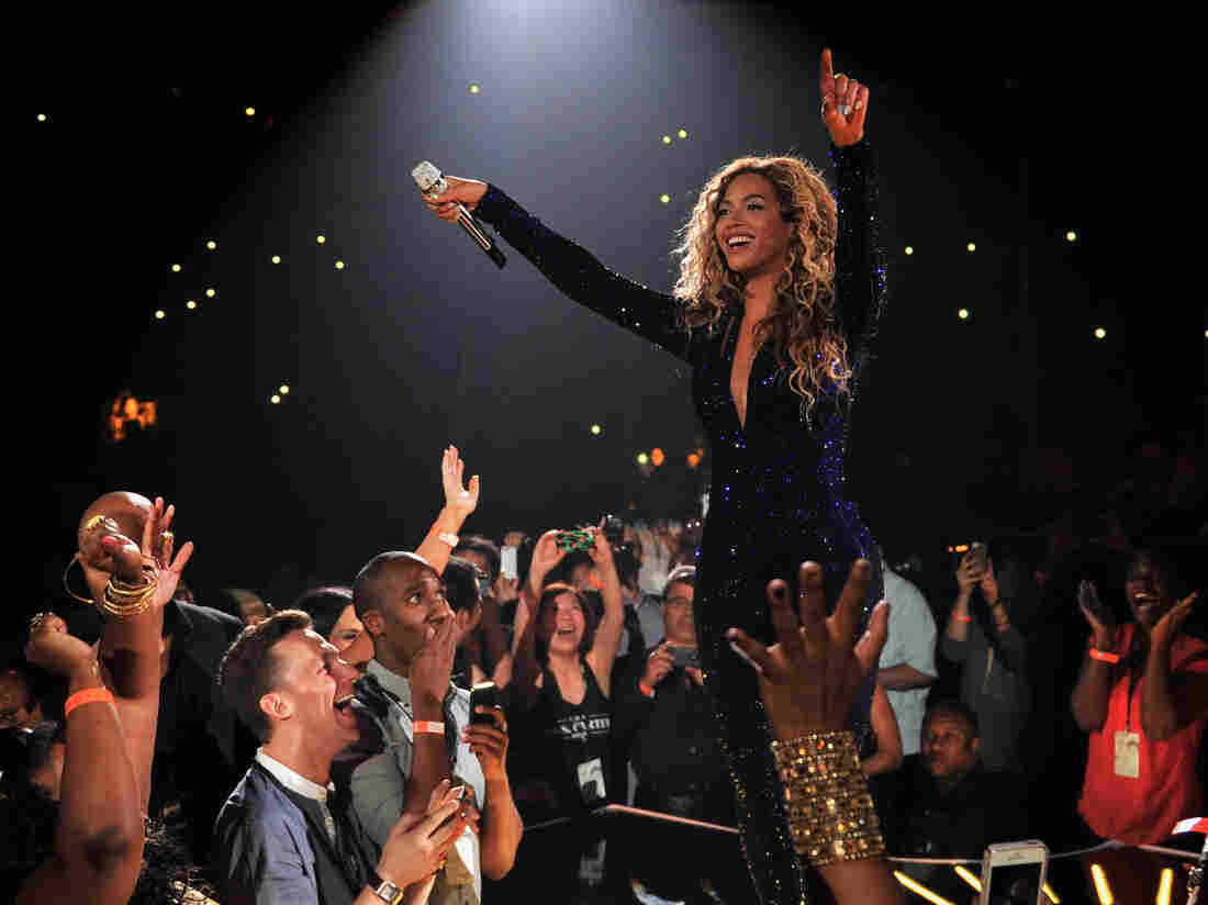 "Beyoncé on stage Aug. 3 during ""The Mrs. Carter Show World Tour"" at the Barclays Center in New York City."