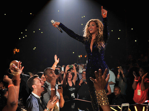 """Beyoncé on stage Aug. 3 during """"The Mrs. Carter Show World Tour"""" at the Barclays Center in New York City."""