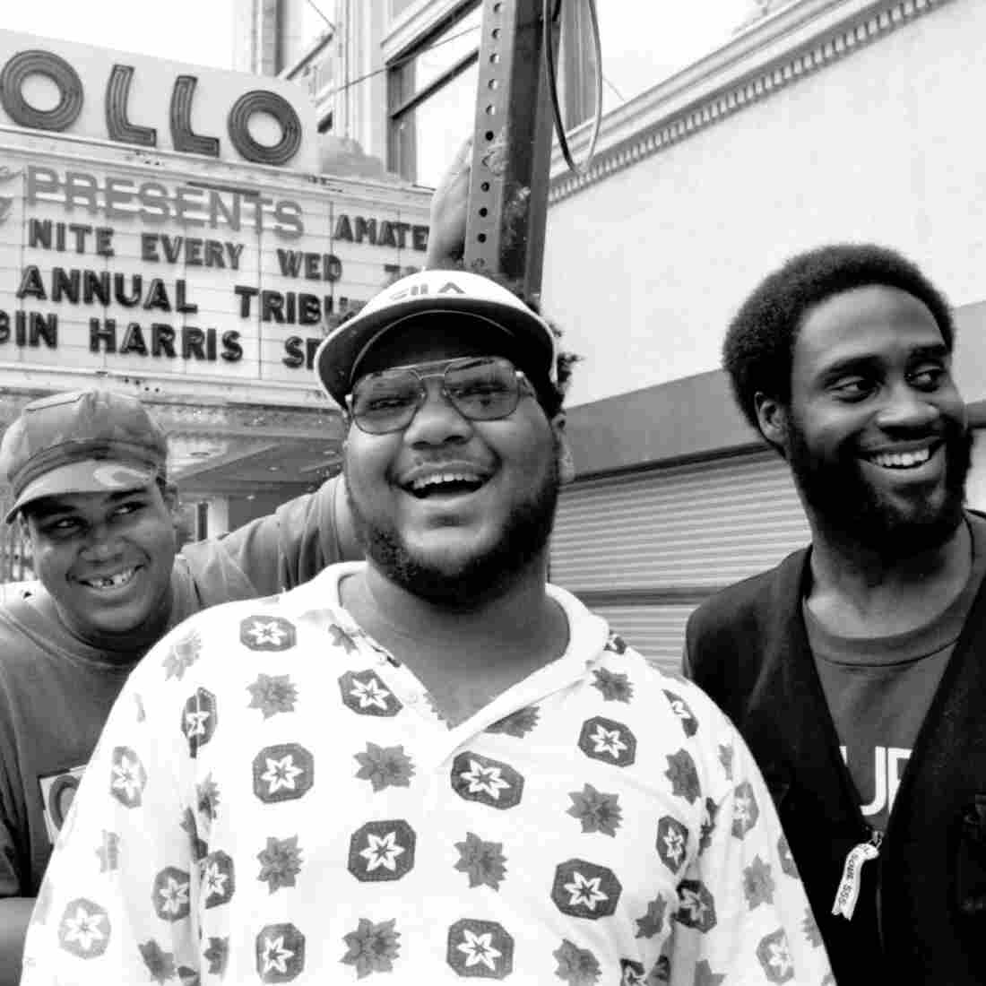 David Jude Jolicoeur aka Trugoy (from left), Vincent Mason aka P.A. Mase and Kelvin Mercer aka Posdnuos pose for a portrait outside the Apollo Theater in Harlem in September 1993.
