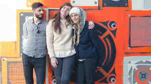 Julianna Barwick and her band pause for a picture outside KEXP in Seattle