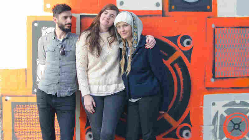 Julianna Barwick and her band pause for a picture outside KEXP in Seattle.