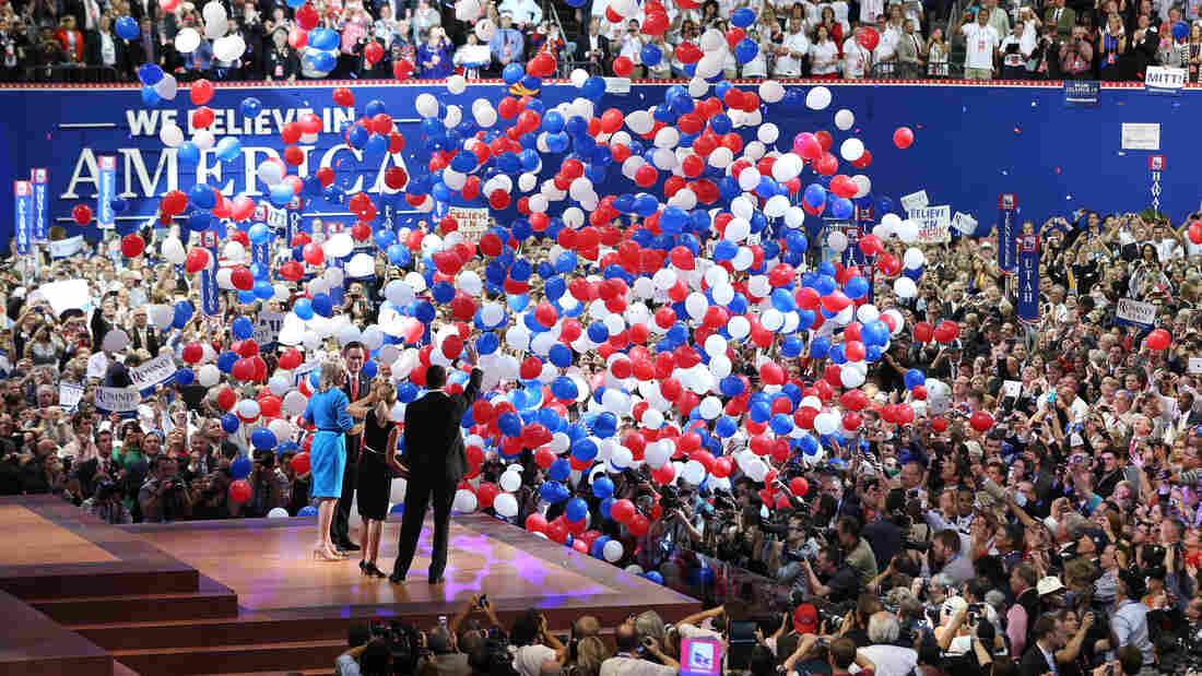 Republican presidential candidate Mitt Romney and vice presidential candidate Paul Ryan on stage with their wives Ann Romney and Janna Ryan at the Republican National Convention on Aug. 30.