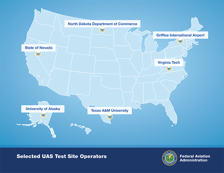 "The Federal Aviation Administration's map showing the locations of the six ""unmanned aircraft systems"" test sites it has chosen."