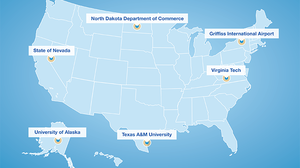 """The Federal Aviation Administration's map showing the locations of the six """"unmanned aircraft systems"""" test sites it has chosen."""
