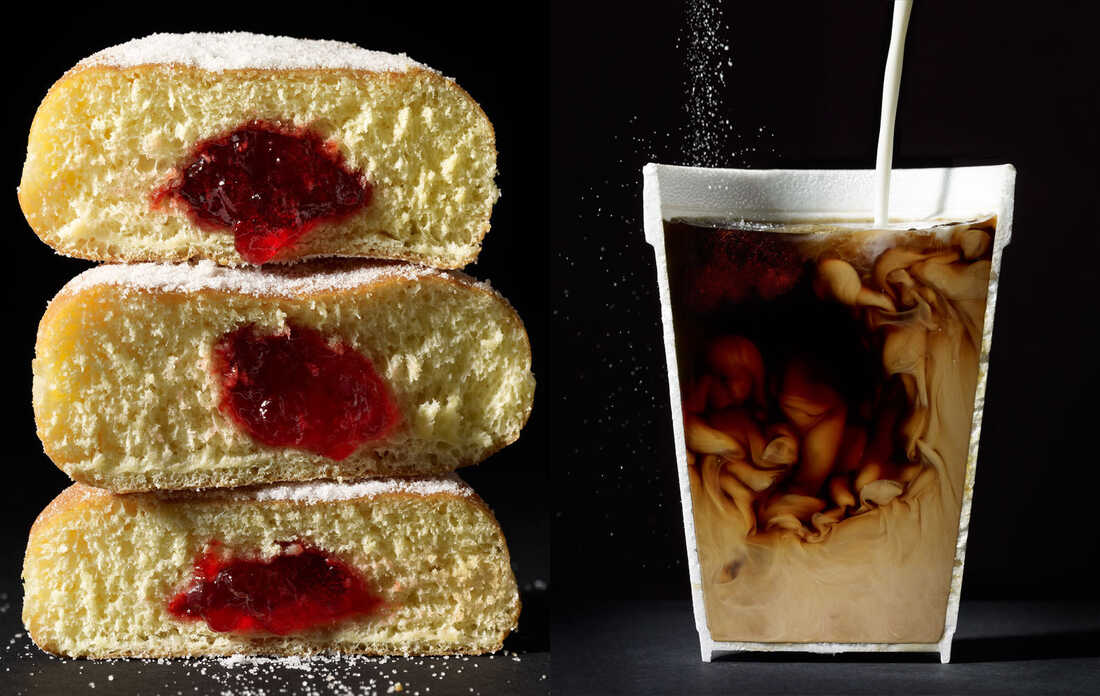 Coffee and jelly doughnuts