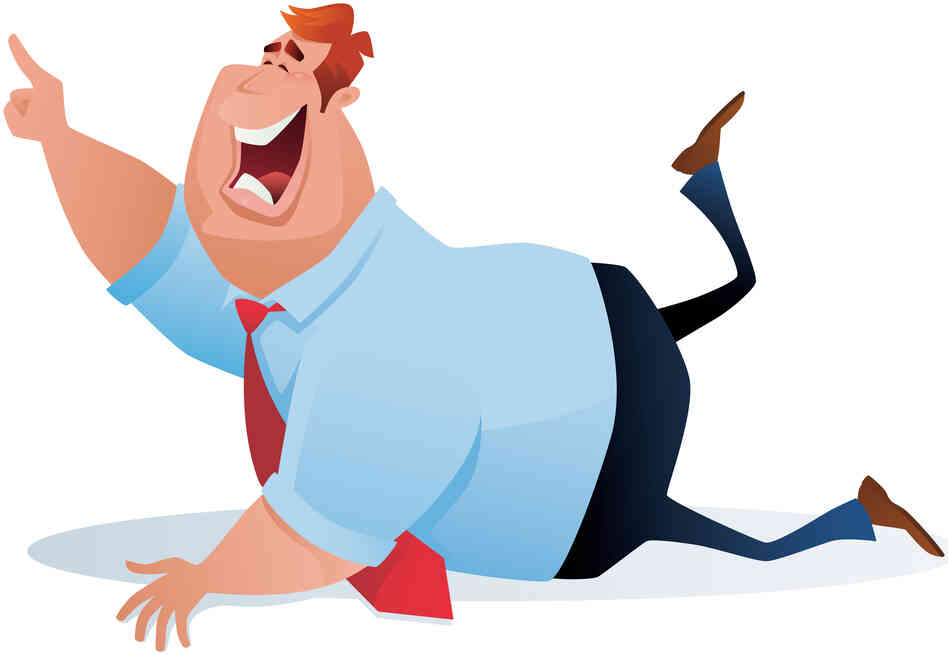 An illustration of a laughing man on the floor pointing up at something funny.