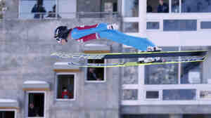 First-place finisher Jessica Jerome competes in the women's ski jumping event at the U.S. Olympic trials in Park City, Utah, on Sunday.