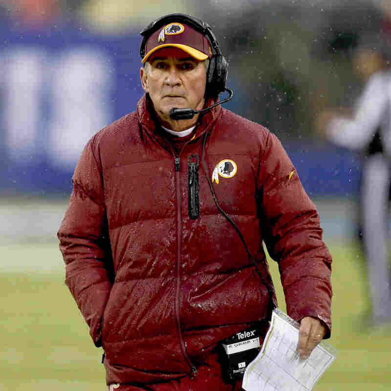 He's out: Washington Redskins head coach Mike Shanahan on Sunday during the team's loss to the New York Giants. He was fired on Monday.