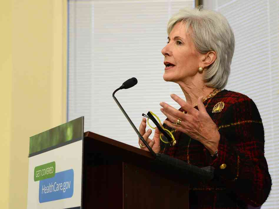 Secretary of Health and Human Services Kathleen Sebelius answers questions about HealthCare.gov in Dallas ear