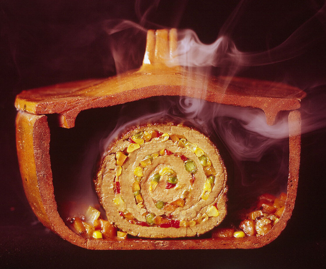 Argentinian matambre, a slice of beef rolled with vegetables and chilies, 1966