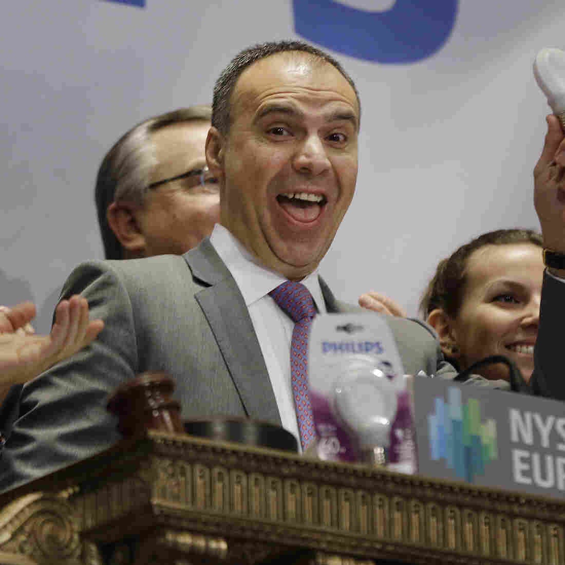 Philips Lighting North America CEO and President Bruno Biasiotta rings the opening bell at the New York Stock Exchange in New York, on Tuesday.