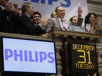 Philips Lighting North America CEO and President Bruno Biasiotta rings the opening bell at the New York Stock Exchange on Tuesday.