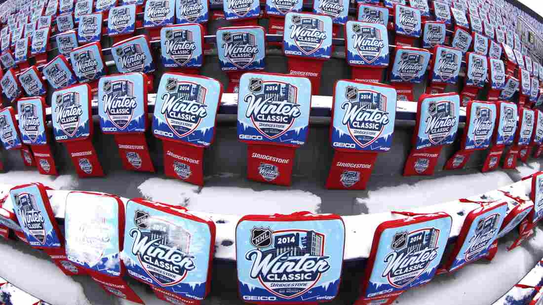 NHL Winter Classic hockey game seat pads are displayed at Michigan Stadium in Ann Arbor ahead of the New Year's Day outdoor game between the Detroit Red Wings and Toronto Maple Leafs.
