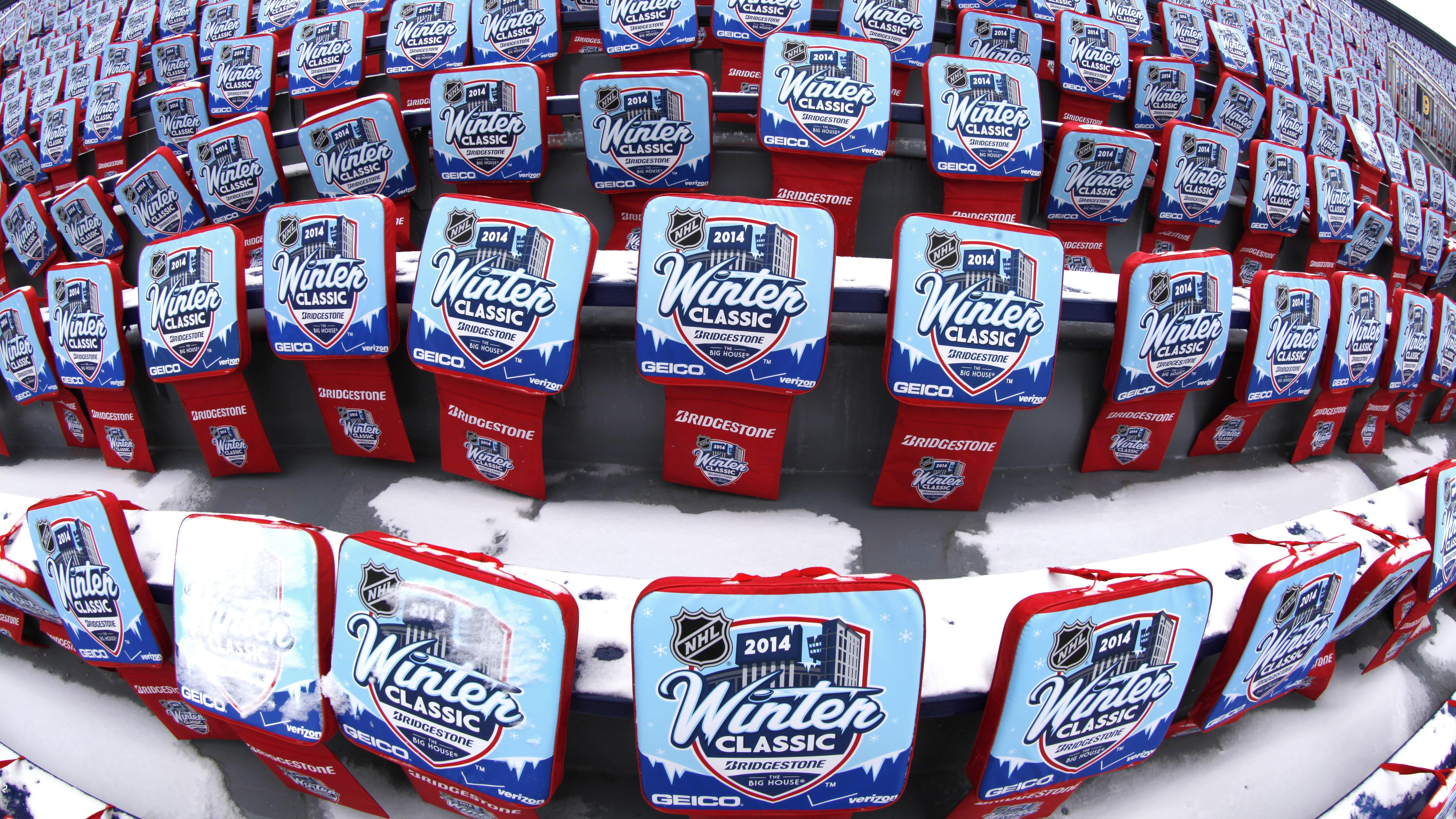 8357e78c4 NHL Winter Classic hockey game seat pads are displayed at Michigan Stadium  in Ann Arbor ahead of the New Year s Day outdoor game between the Detroit  Red ...
