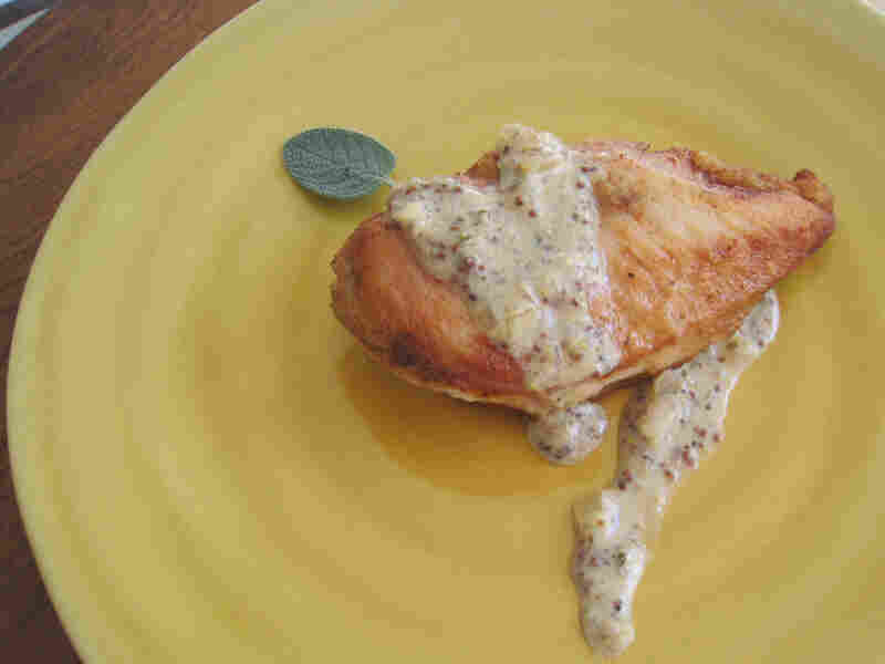 Castle's pan sauce (served here with chicken) is spiked with brandy, cider and mustard.