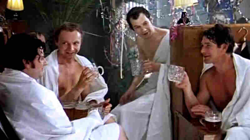 Zhenya drinks heavily with his friends at a Russian bathhouse in The Irony of Fate, a Soviet-era film that Russians still watch on New Year's Day.