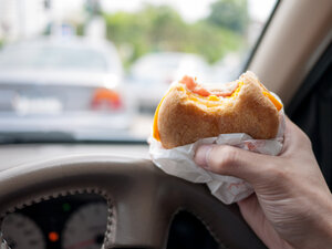 You can do it. But your 16-year-old can't. Teens were more likely to have accidents while eating or talking in the car.