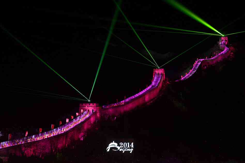 A lightshow illuminates the Great Wall during a New Year countdown event in Beijing.
